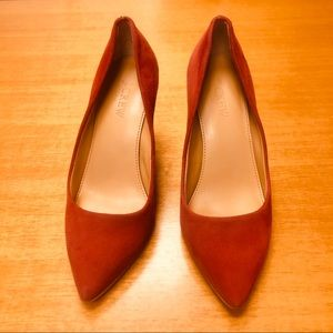 J Crew Suede Pointed Toe Pumps Rose Apple Size 6